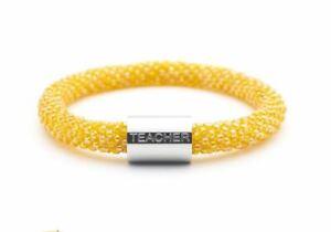 """Sashka Co reg 6-8"""" TEACHER Charm BRACELET Glass Beaded Orange & Silver word"""