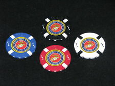USMC Lot of 4 Colored Poker Chips Golf Ball Marker Card Guard Marine Corps Navy