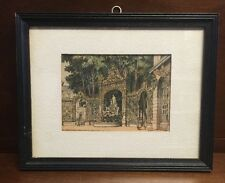RARE French Artist Barday Signed Hand-Colored Sketch Paris L'Eglise Sainte Eprre