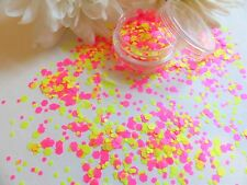 Nail Art Chunky *Easter* Matte Pink Yellow Neon Hexagon Shapes Spangles Mix Pot