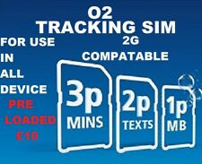 O2 2G Sim Card for GPS Tracker Tracking GSM Devices 2p per Text 1p per MB & £10