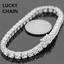 """14K WHITE GOLD FINISH ICED OUT 1 ROW TENNIS LINK BRACELET 7.5"""" 5MM 20g"""