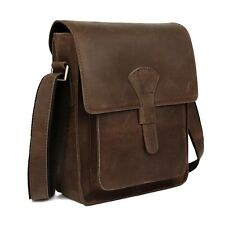 Retro Real Leather Brown Men's Shoulder Bag Sling Cross Body Small School Case 11124