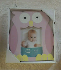 "Prinz Mdf Picture Frame Pink Owl Wood Baby Nursery Holds 4"" x 6"" Photo New"
