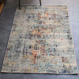 Multicoloured Distressed Rug Modern Abstract Living Room Rugs Small Large Rugs