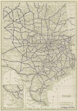 Texas State Highways. POATES 1925 old vintage map plan chart