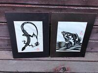 Pair 2 VTG Japanese JAD FAIR Cut Out Art Prints Fish & Lizard Signed w Chop Mark