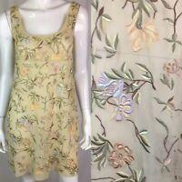 Vintage Women's 6 Beige Silk Chiffon Floral Embroidered Sheath Mini Dress