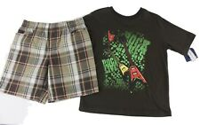 Basic Editions Boys Brown Plaid 2 Piece T-Shirt Shorts Set Size XS (4-5) NWT