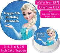 FROZEN ELSA EDIBLE WAFER & ICING PERSONALISED CAKE TOPPERS DECORATION BIRTHDAY