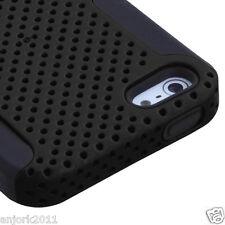 APPLE iPHONE 5 DUAL LAYER HARD CASE SKIN COVER HYBRID ACCESSORY BLACK/BLACK