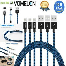 3 Pack 10 Ft Lightning Cable Iphone 7 6 5 Heavy Duty Long Charging Cord Charger