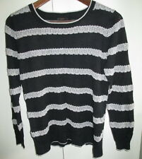 Ladies Jeanswest Size M Knit Top Silver Black Long Sleeve Jumper