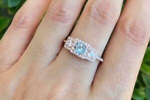 Vintage Blue Aquamarine Rose Gold Ring Promise ring for Her- Halo Round ring
