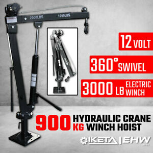 900kg Swivel Hydraulic Crane Hoist 12V Electric Jack UTE Trailer Pick up Lift
