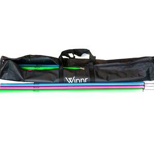 Set of 12 - 1 metre Football Training Slalom Agility Poles Inc Carry Bag