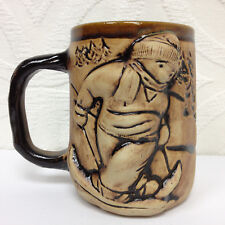 VTG One of a Kind SKI MAN SKIING Oversized Stoneware 3D Coffee Mug Brown 1980