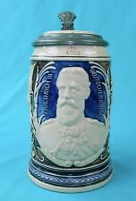 Antique German Germany WW1 Kaiser Friedrich Ceramic Lidded Beer Stain Mug