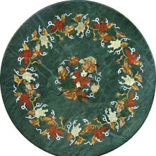 """24""""x24"""" Round Design Marble Inlay Table Top Home Decor"""