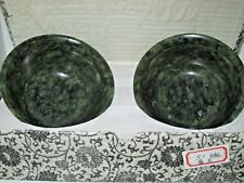 Gorgeous Pair of Vintage Spinach Jade Bowls in Original Protective Box