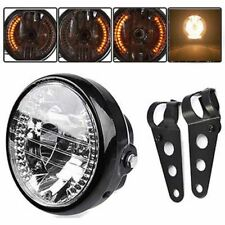 "New Universal 7"" Motorcycle Headlight LED Turn Signal Light + Mount Bracket Kit"