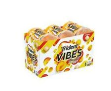 6 NEW 40 PIECE CONTAINERS OF TRIDENT VIBES TROPICAL BEAT CHEWING GUM SUGAR FREE