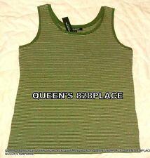 New Jones New York Women Size L Large Stretch Green Striped Sleeveless Tank Top
