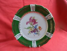 Continental China Cabinet Plate (Wide Green Border with Floral Design Centre)