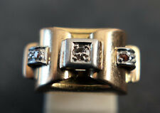 SUBLIME BAGUE TANK SERTI DE 5 DIAMANTS OR MASSIF 18 CARATS 750 PÉRIODE 1940.
