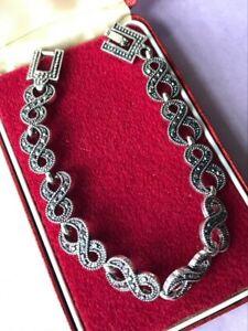 Beautiful Vintage Style Art Deco Revival Marcasite Crystal 19cm Long BRACELET
