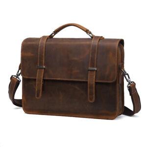 """Vintage Full Grain Leather Briefcase Messenger Bag 14"""" Laptop Case Crossbody Bag"""