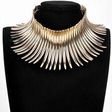 Fashion Sparkling Gold Canine Shape Cluster Collar Choker Pendant Bib Necklace