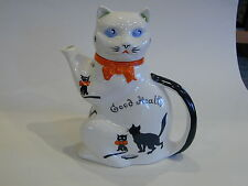 Vintage Wood & Sons Burslem Good Luck/Health Pussyfoot Cat Teapot