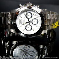 Mens Invicta Speedway Daytona Stainless Steel White Chronograph 200m Watch New