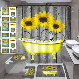 Shower Curtain Non-Slip Rug Toilet Cover Mat Set With 12 Hooks  Waterproof
