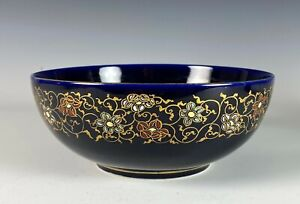 Antique Japanese Kinkozan Cobalt Blue Satsuma Pottery Bowl