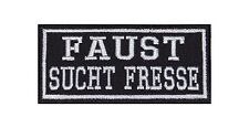 Faust Sucht Fresse Patch Aufnäher Badge Biker Heavy Rocker Bügelbild Kutte Stick