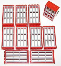 LEGO 10 LIGHT BLUISH GREY JAIL BARRED DOORS WITH RED 2 X 4 X 6 FRAMES TOWN CITY