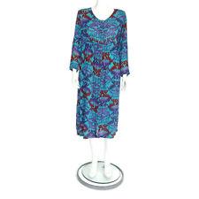 Adini Vintage Blue Purple India Hippie Gauze Button Festival Dress sz M /4875