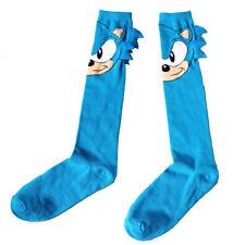 Size 10-13 Comic Sonic The Hedgehog Long Tube Socks Dress Casual Cute Blue Socks