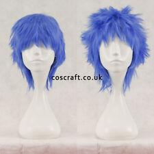 Breve Layered SOFFICI spikeable Cosplay Parrucca, blu indaco, UK Venditore, Jack stile