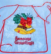 Vintage Christmas Apron, Clear Plastic Christmas Aprons 1970's Seasons Greetings
