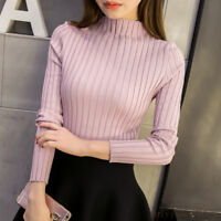 Korean Womens Mock Neck Sweater Pullover Slim Long Sleeve Knit Shirt Blouse Tops
