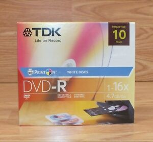 Genuine TDK (1-16X) 4.7GB Pack of 10 Blank White Discs Life on Record DVD-R