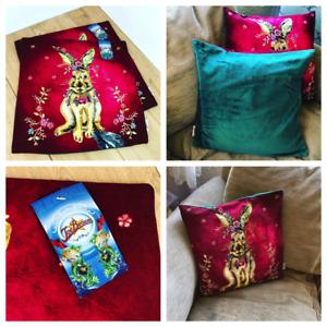 "Pair of Red Joe Browns Cushion Covers Spring Hare Green Velvet Back 18"" BNWT"