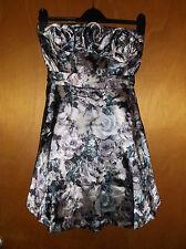 QED London Strapless Satin Layered Short 'Roses' Dress UK 10 Black/Grey BNWT