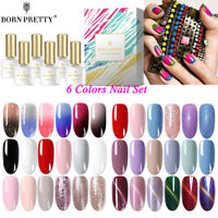 6 Farben / Set UV Gel Kit Glitter CatEye Thermal Maniküre Nagellack BORN PRETTY