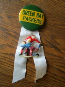 1950's Green Bay Packers Vintage Football Pin w/ FB Player Charm