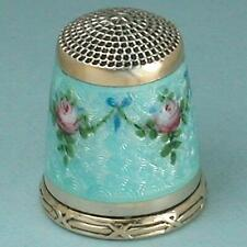 Gorgeous Antique Enameled Roses Gilded Sterling Silver Thimble * Circa 1900