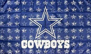 Dallas Cowboys Logo NFL Flag 3x5 ft Blue Sports Banner Man-Cave Garage Bar Pub